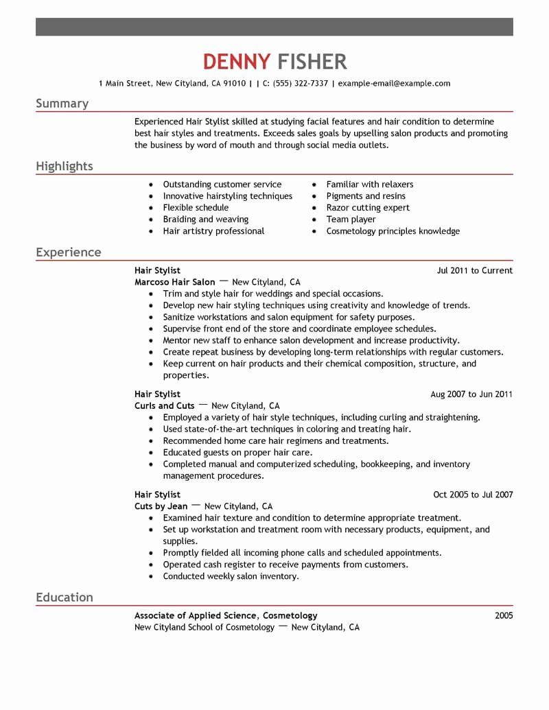 25 Hair Stylist Resume Template In 2020 Resume Examples Resume