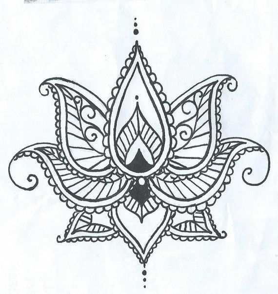 Lotus Temporary Tatto With Paisley Henna Style Petals Hand Drawn Illustration Flower Henna Hand Henna Henna Tattoo Designs