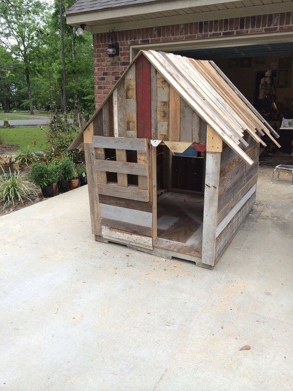 Children outdoor playhouse recycled wood summer play for Boys outdoor playhouse