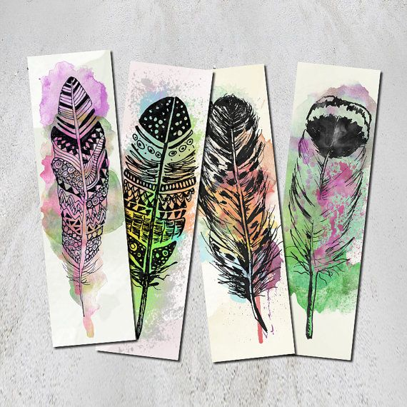 Watercolor Feather Bookmark Set Of 4 Digital Printable Bookmarks