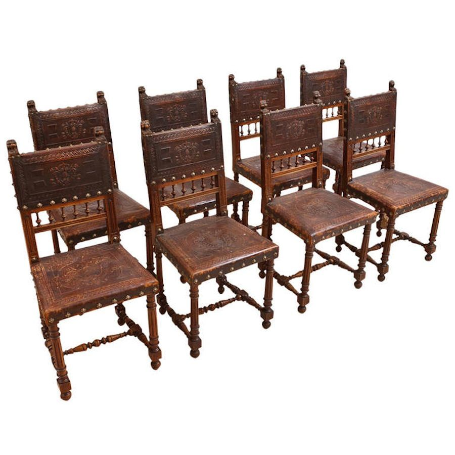 Set Of Eight French Antique Neo Renaissance Dining Chairs In