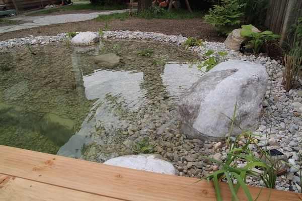 Der Quellstein wurde in den Teich integriert Garten Pinterest - teich wasserfall modern selber bauen