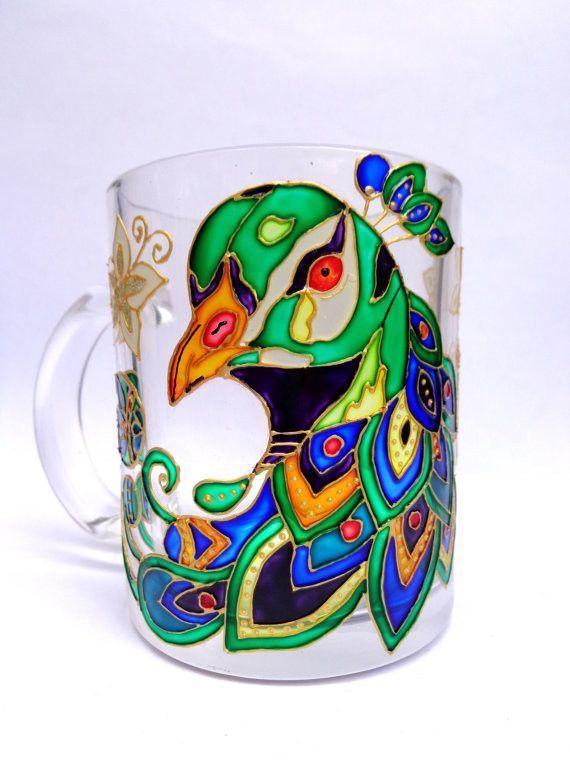 Peacock mug Glass mug Hand painted glass mug Glass painting Colorful mug