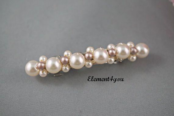 French Barrette headpiece bride Wedding bridal barrette bridesmaid barrette Pearl Hair Accessory Wedding Hair Clip Pearl crystals clip