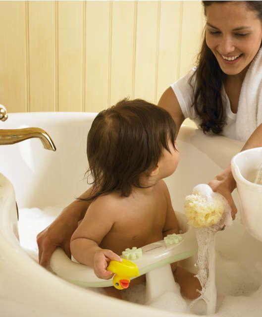 Acqua Bath Seat - Pearl White/Soft Lime. If you\'re bathing two ...