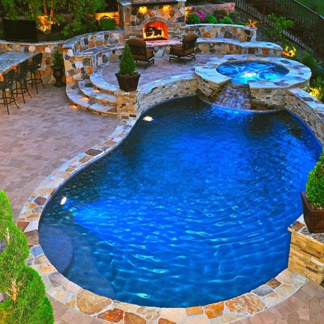 Fire pit pool and hot tub