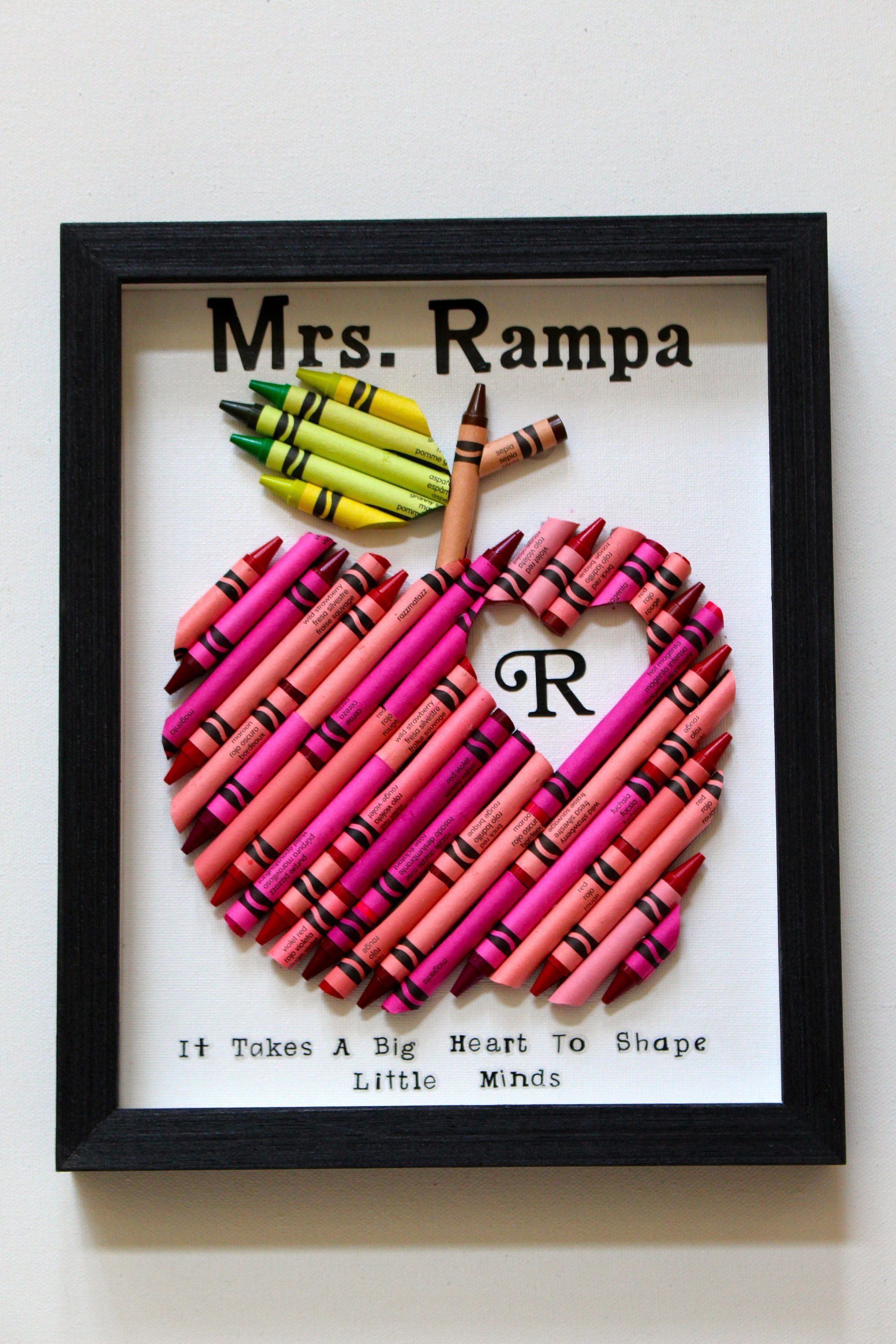 Crayon apple teacher gift framed crayon personalized