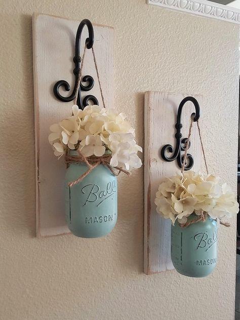 Photo of Set of 2 Mason Jar Sconces, Mason Jar Wall Decor, Country Decor, Hanging Mason Jar Sconce, Mason Jar Decor, Wall Sconce, Farmhouse Decor