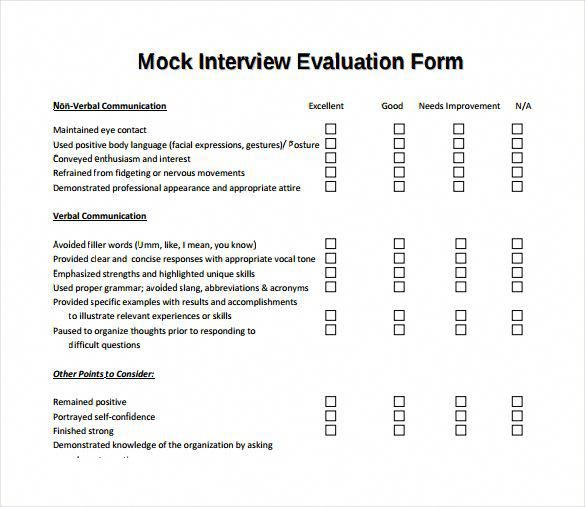 Mock Interview Evaluation Form #ResumeWritingWords Resume Writing