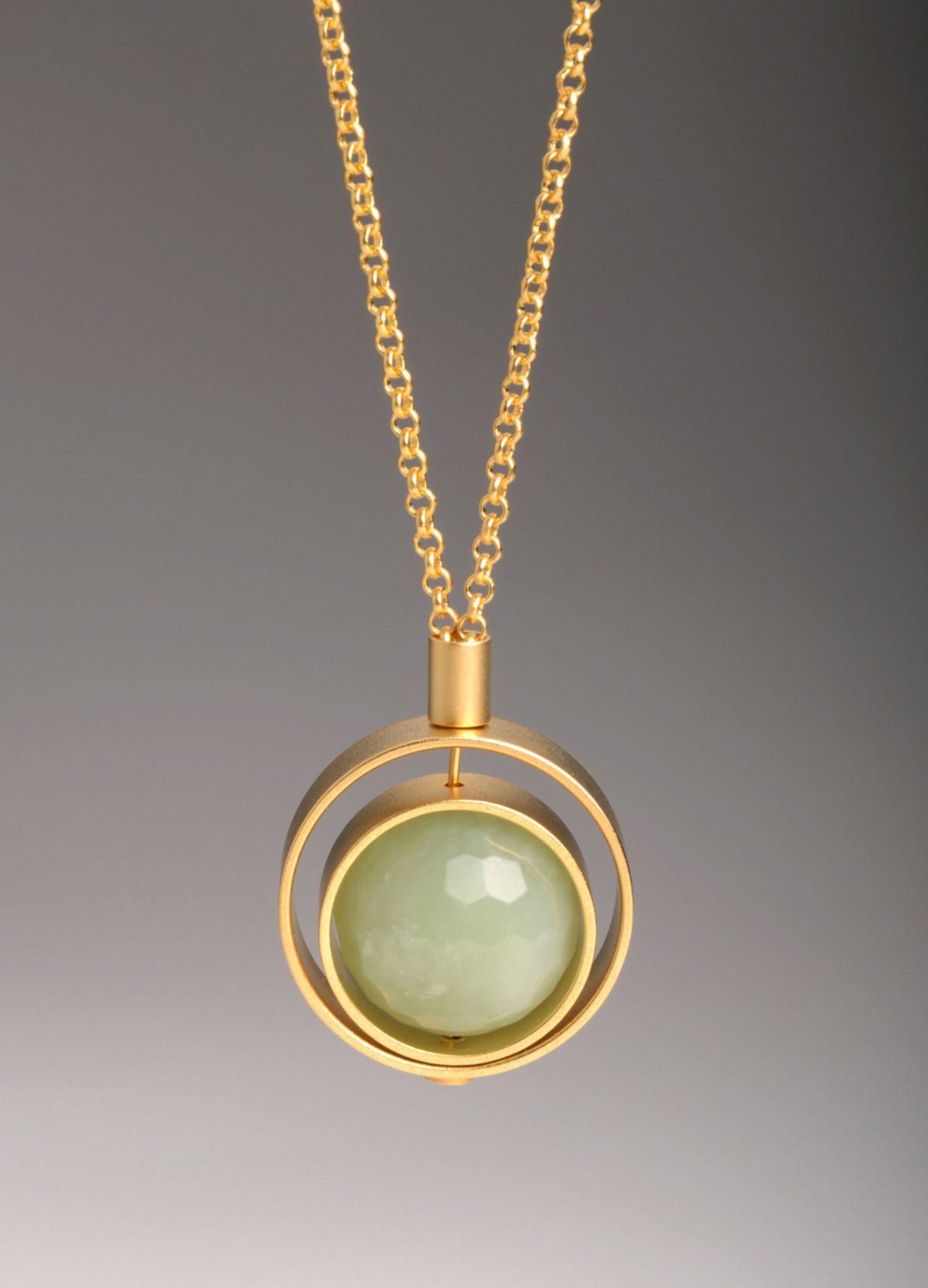 Green Jade / Pink Quartz Stone Pendant Necklace 24K Pure GOLD Women Ladies  Chain
