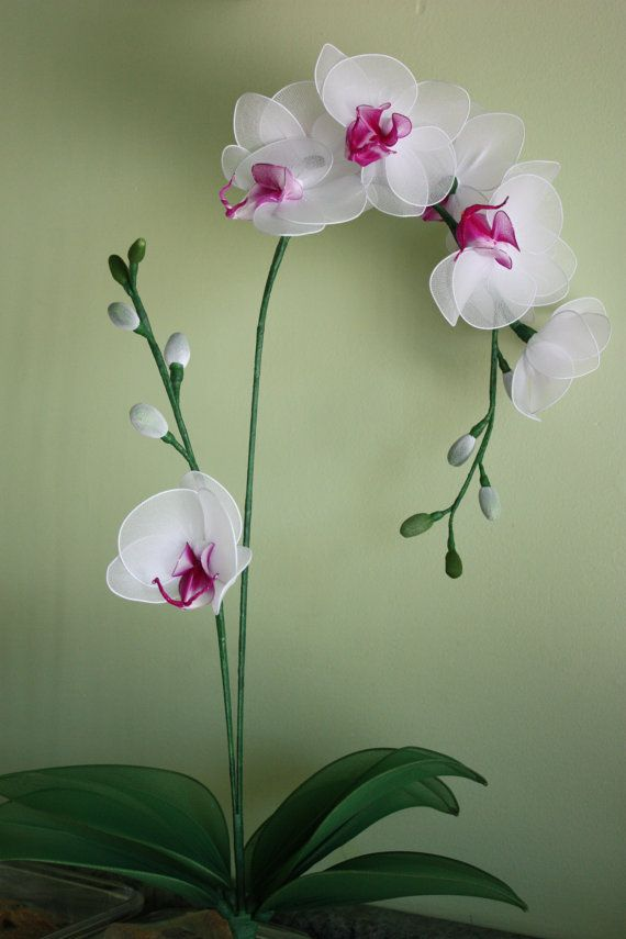 Nylon Flower White Orchid , mother's day, flower plants, weddings bouquet, centerpiece, flower arrangement