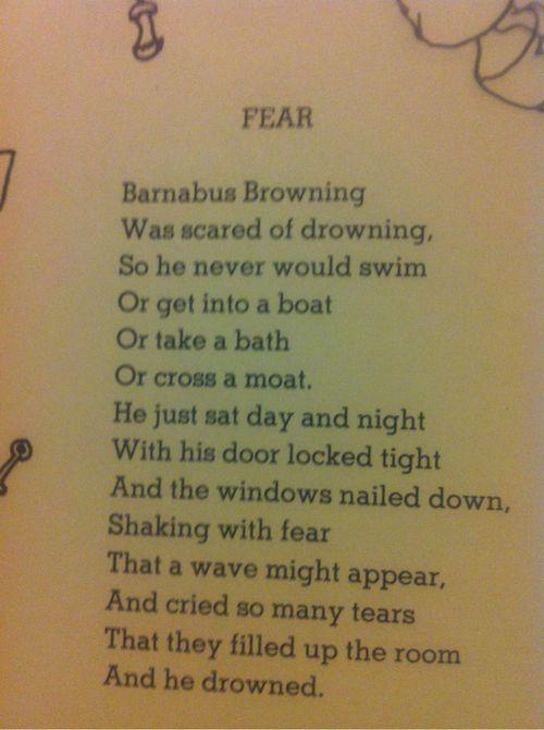 Fear By Shel Silverstein Gotta Overcome This Little Fear Of