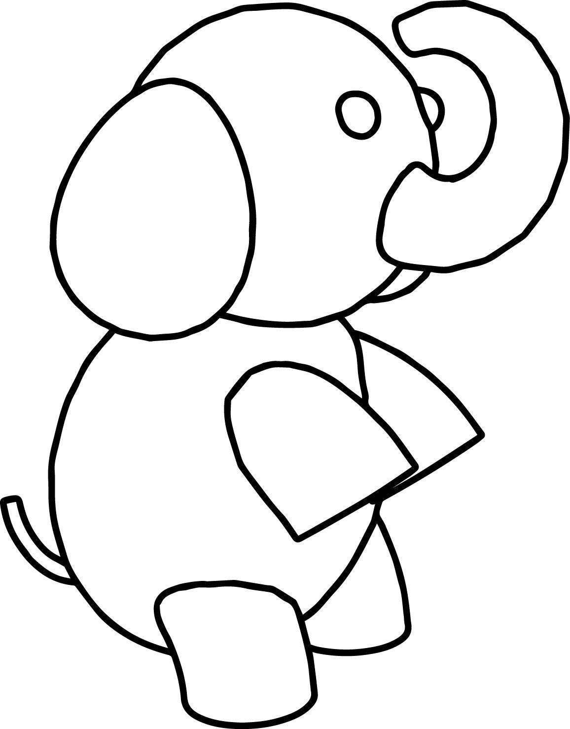 Cool Elephant Standing Coloring Page