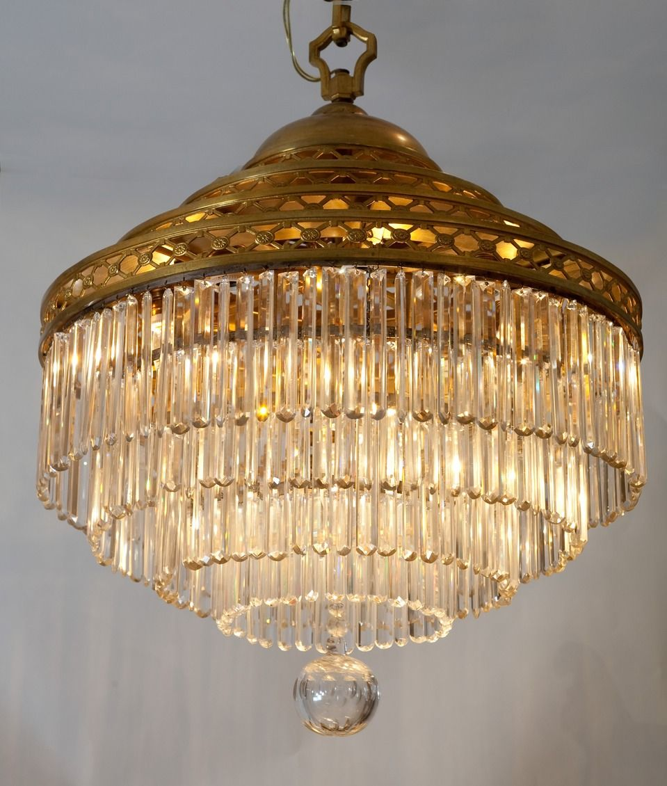 Crystal Chandelier Old: ANTIQUE TIERED CRYSTAL CHANDELIER