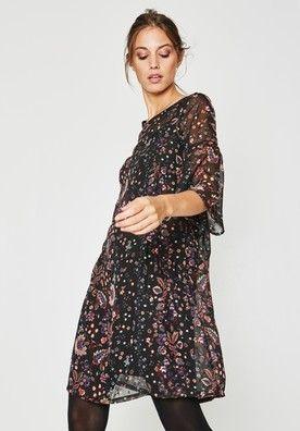 75f88bfd5685b8 Robe en voile imprimé Femme Imprimé noir | fringues | Robe, Robe ...