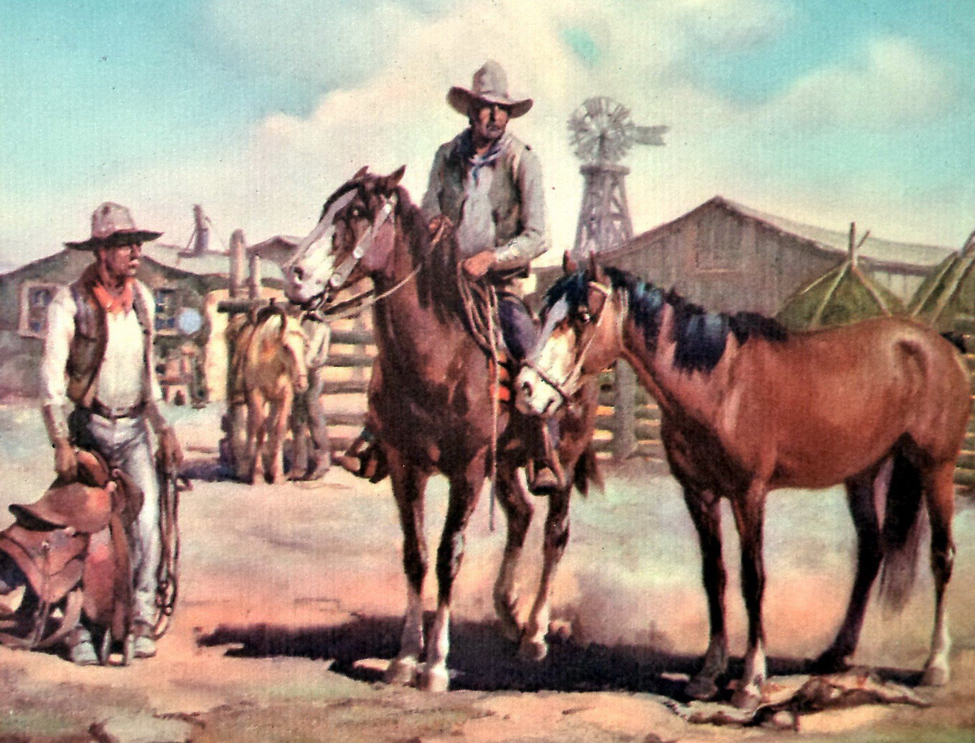 Original Gray Bartlett Western Print Saddling Horse Print Equestrian Western Wall Art American Old West Indians And Cabin Art Western Wall Art Western Art