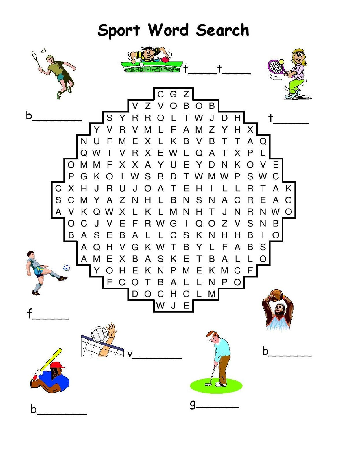 Sports Word Searches Template Sports Coloring Pages Printable Sports Worksheets For Kids