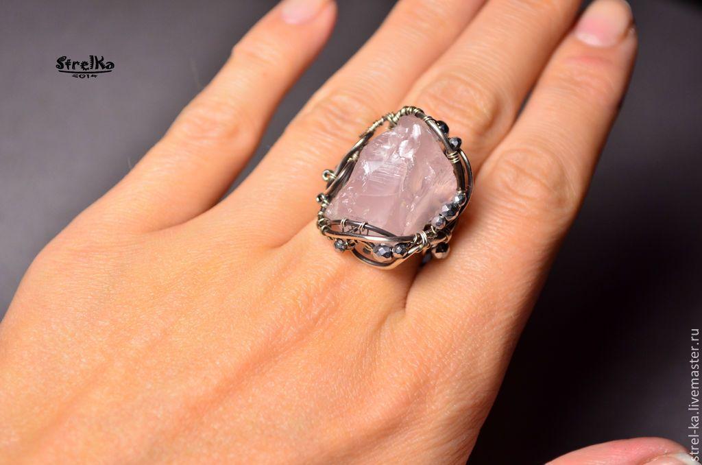 Купить Перстень Розовый Лед - серебряный, массивное украшение, wire wrap, wrap, wire, strelka
