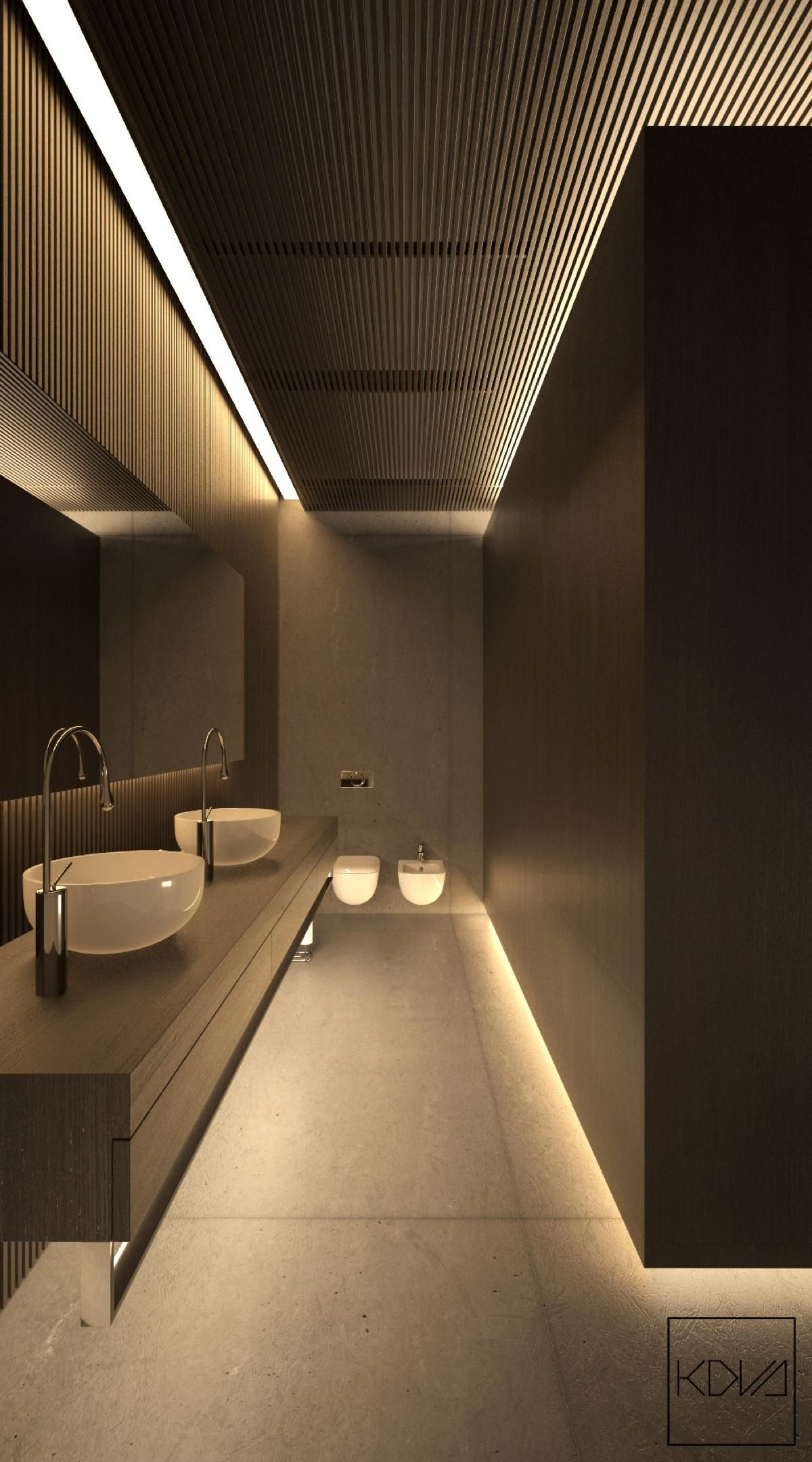 8 Minimalist Monochromatic Homes With Modern Lighting  Bathroom