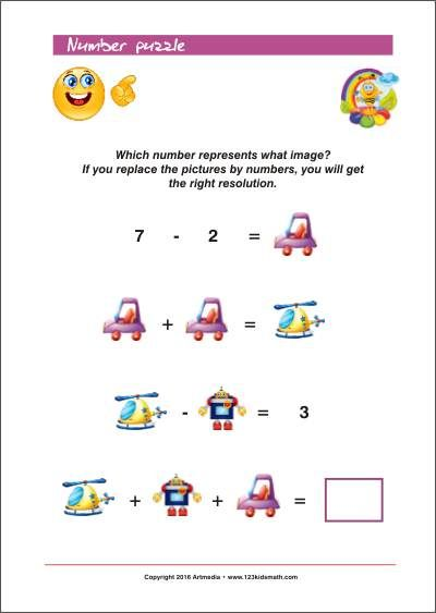 Number puzzle for kids - Which number represents what image? - Free ...