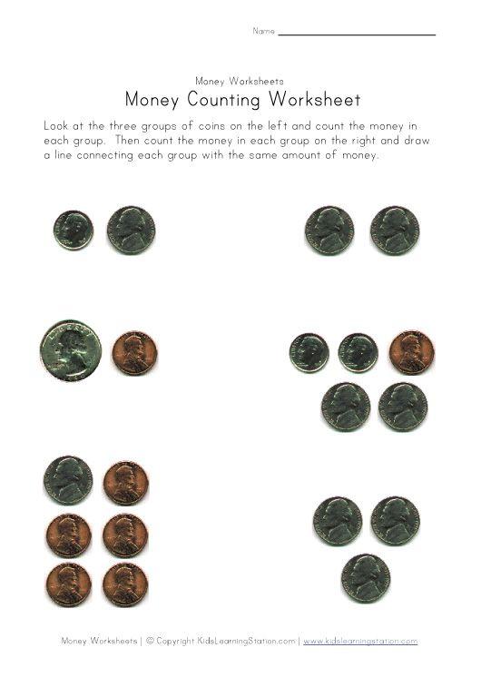 money worksheets for the kids Pinterest