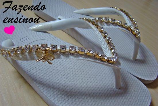 temperament shoes online retailer buy popular Havaiana Customizada com Strass Passo a passo - Perfeita ...