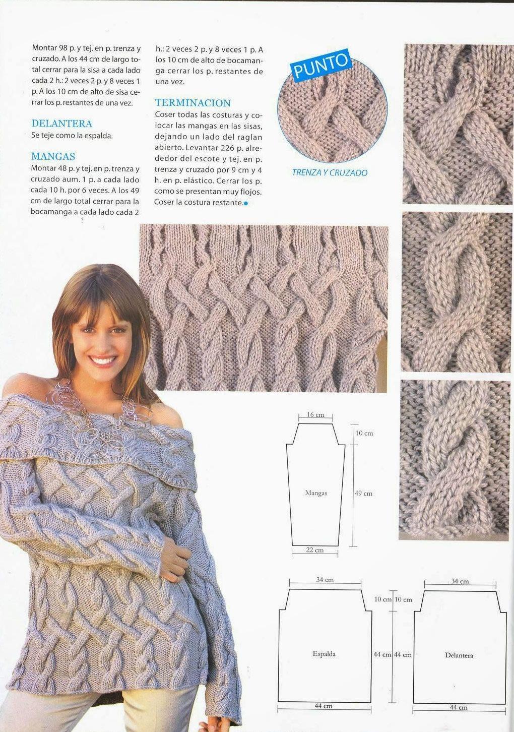 Suéter con escote volcado   Pinterest   Escote, Suéteres de punto y ...