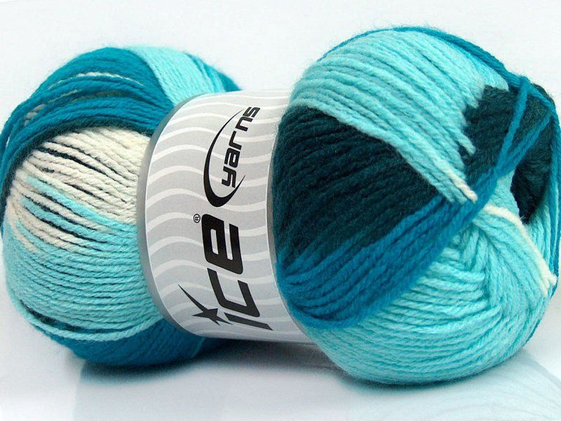 Design Wool Light White Turquoise Shades Teal
