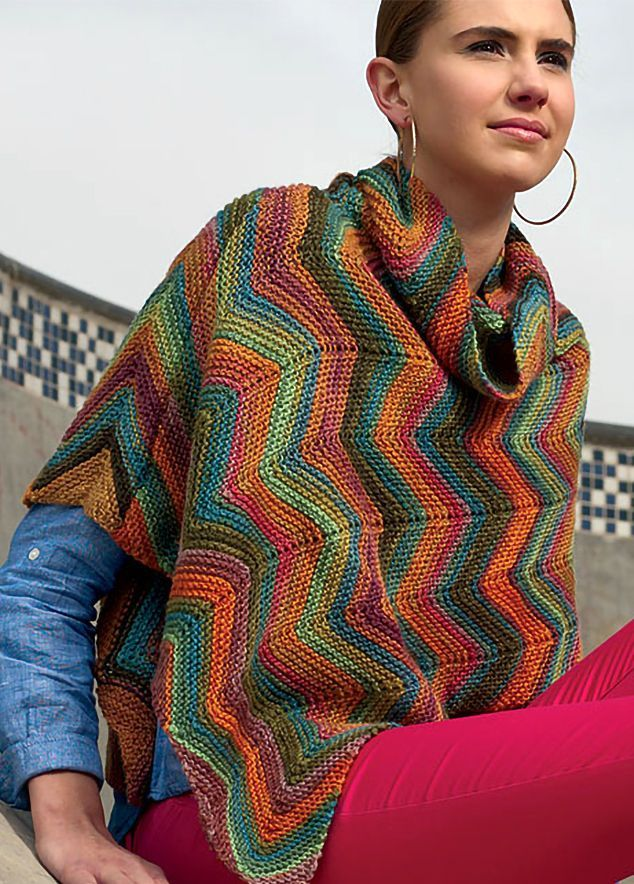 Knitting Pattern for Amalfi Poncho - Knit side to side in a chevron ...