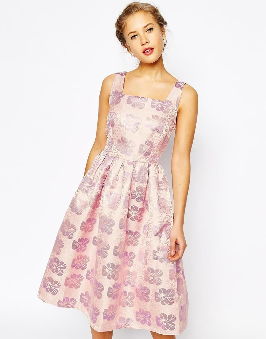 Flower print wedding gown  True Decadence  True Decadence Floral Jacquard Pleated Midi Skater