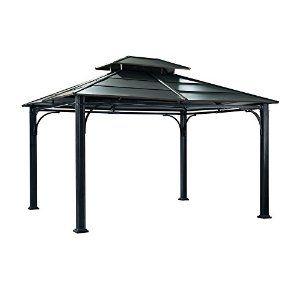 Amazon Com Sunjoy L Gz340pst 3 Addis Ababa Hard Top Gazebo 10 By 12 By 10 Feet Patio Lawn Garden Steel Gazebo Permanent Gazebo Gazebo