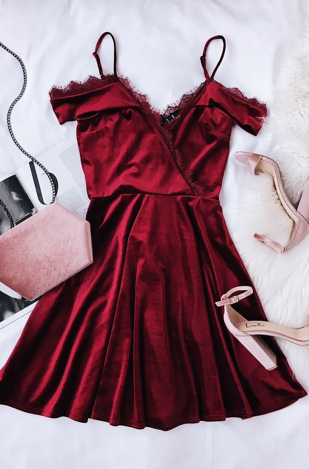 39b0b5674300 A-Line V Neck Burgundy Velvet Homecoming Dress With Lace in 2018 ...
