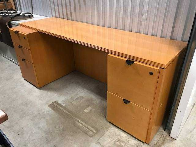 work station table with 2 matching file cabinets file cabinets are rh pinterest com