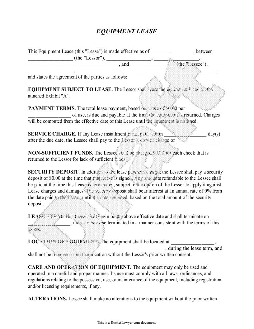 machine lease agreement