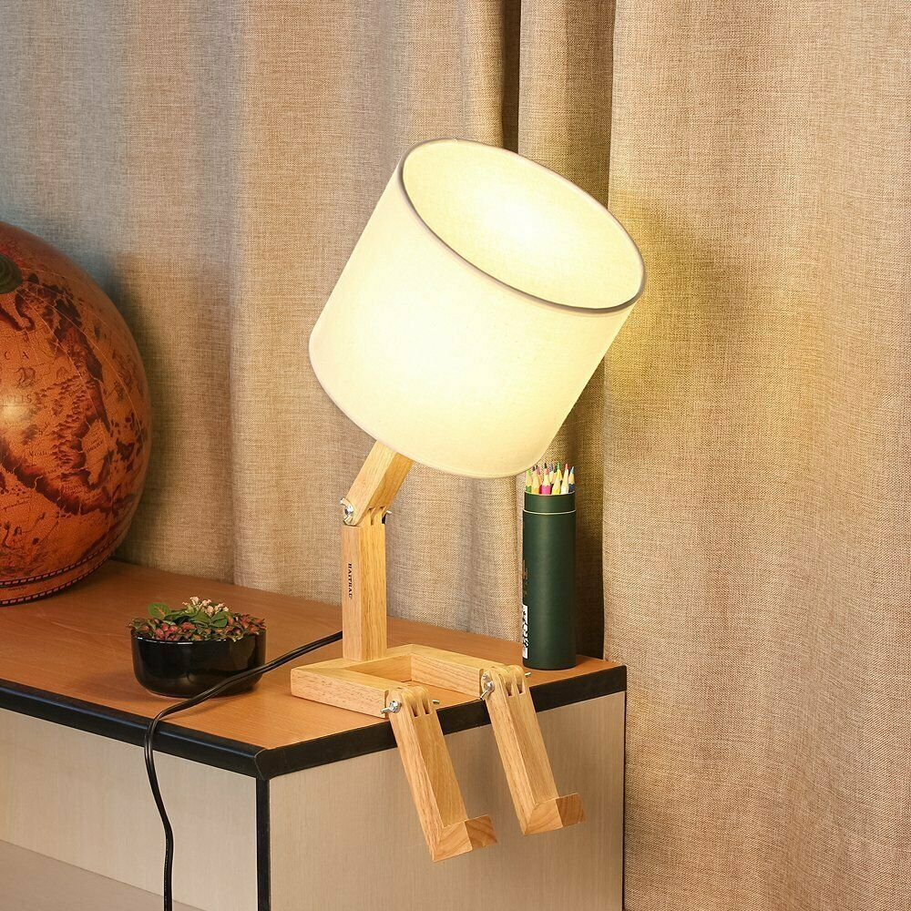Haitral Creative Desk Lamp Cute Table Lamps With Wooden Base Unique 29 35 Lamp Base Ideas Of Lamp B Modern Desk Lamp Natural Table Lamps Nightstand Lamp