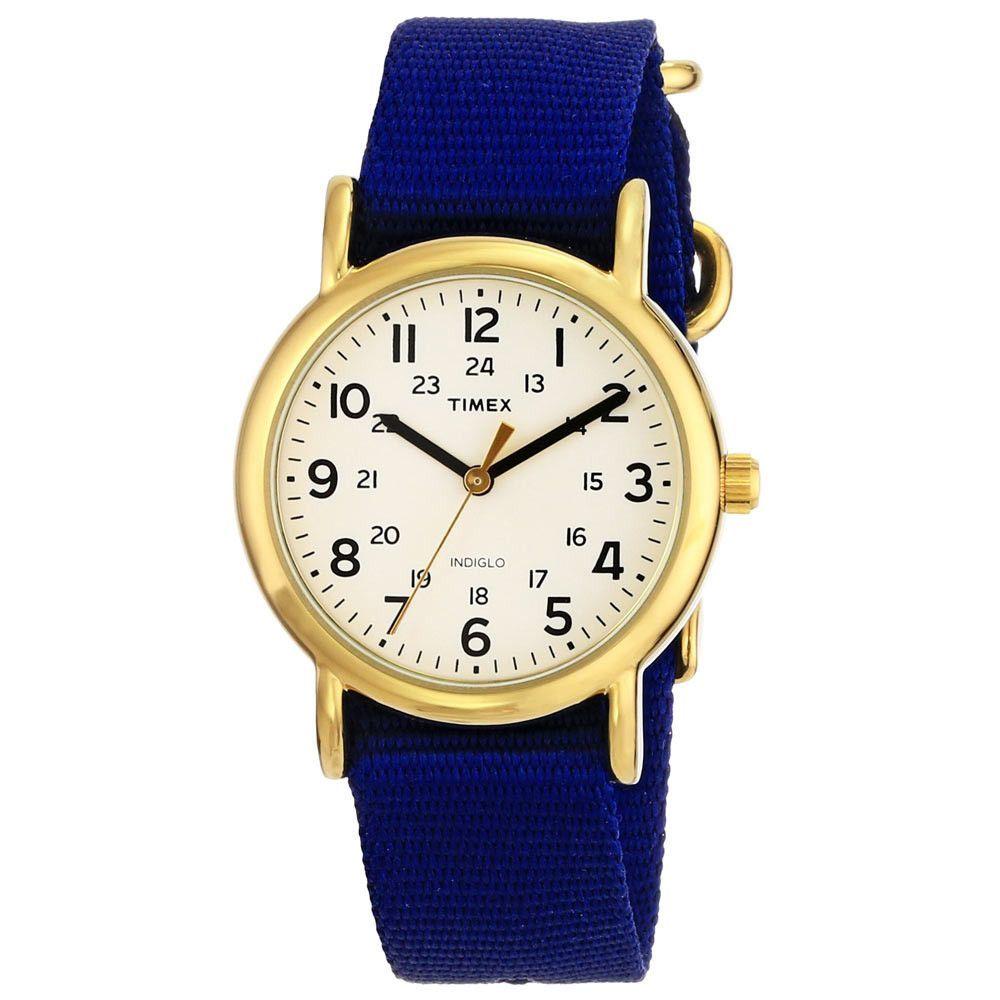 Timex T2P475 Unisex Weekender Mid Size Indiglo Night Light Cream Dial Slip  Thru Blue