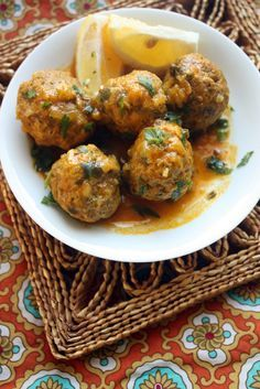 Meatball Tajine - make with preserved lemons - can substitute ground beef for ground turkey, chicken, or lamb