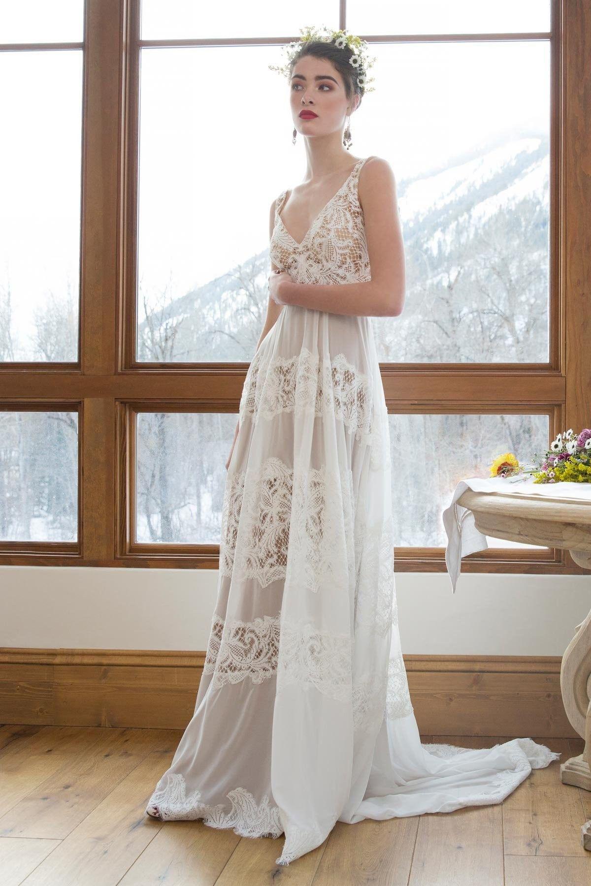 Willowby Designer Boho Bridal Dress Full Length Lace Dress With V