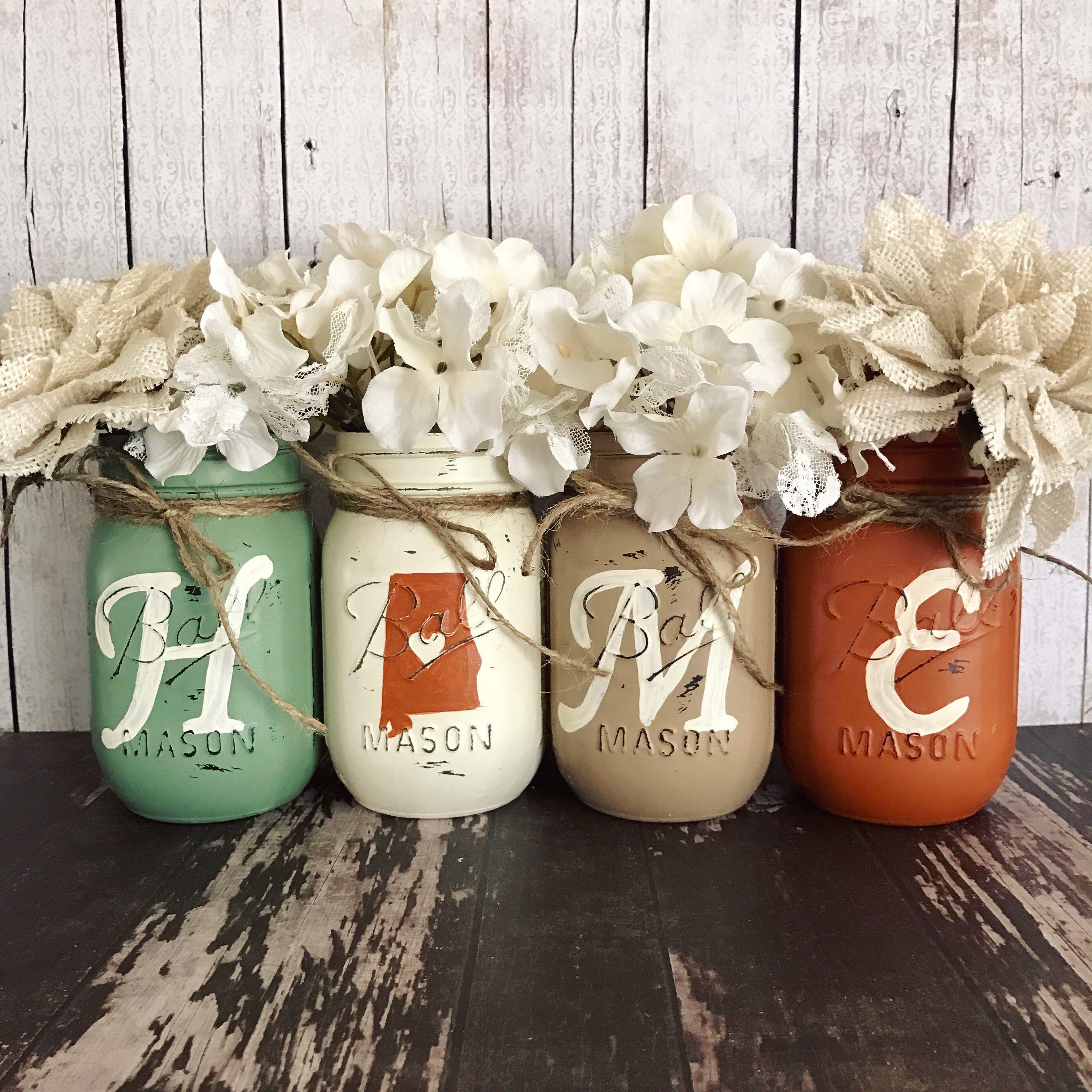 Mason Jar Home Decor Home State Mason Jar Set  Sage Orange And Tan  Rustic Home Decor