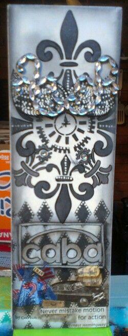 Caja en madera y tecnica de pintura decorativa con mixmedia