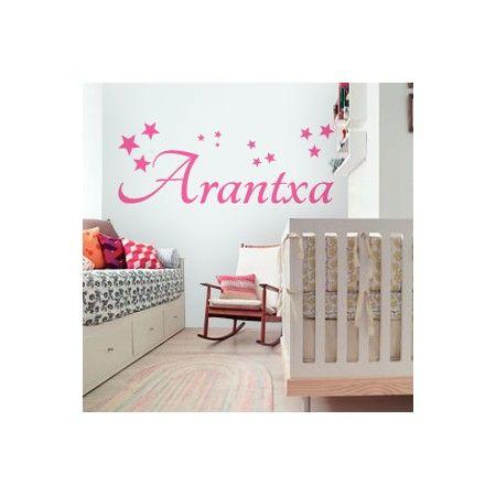 Pegatinas para paredes infantiles con nombre arantxa con for Vinilos decorativos infantiles