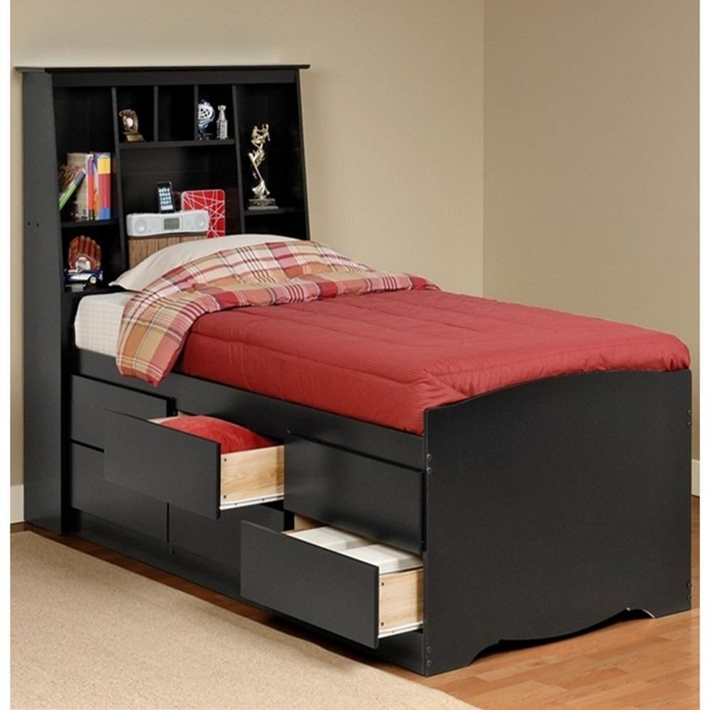 Sonoma Black Tall Twin Storage Bed And Headboard Bed Frame With