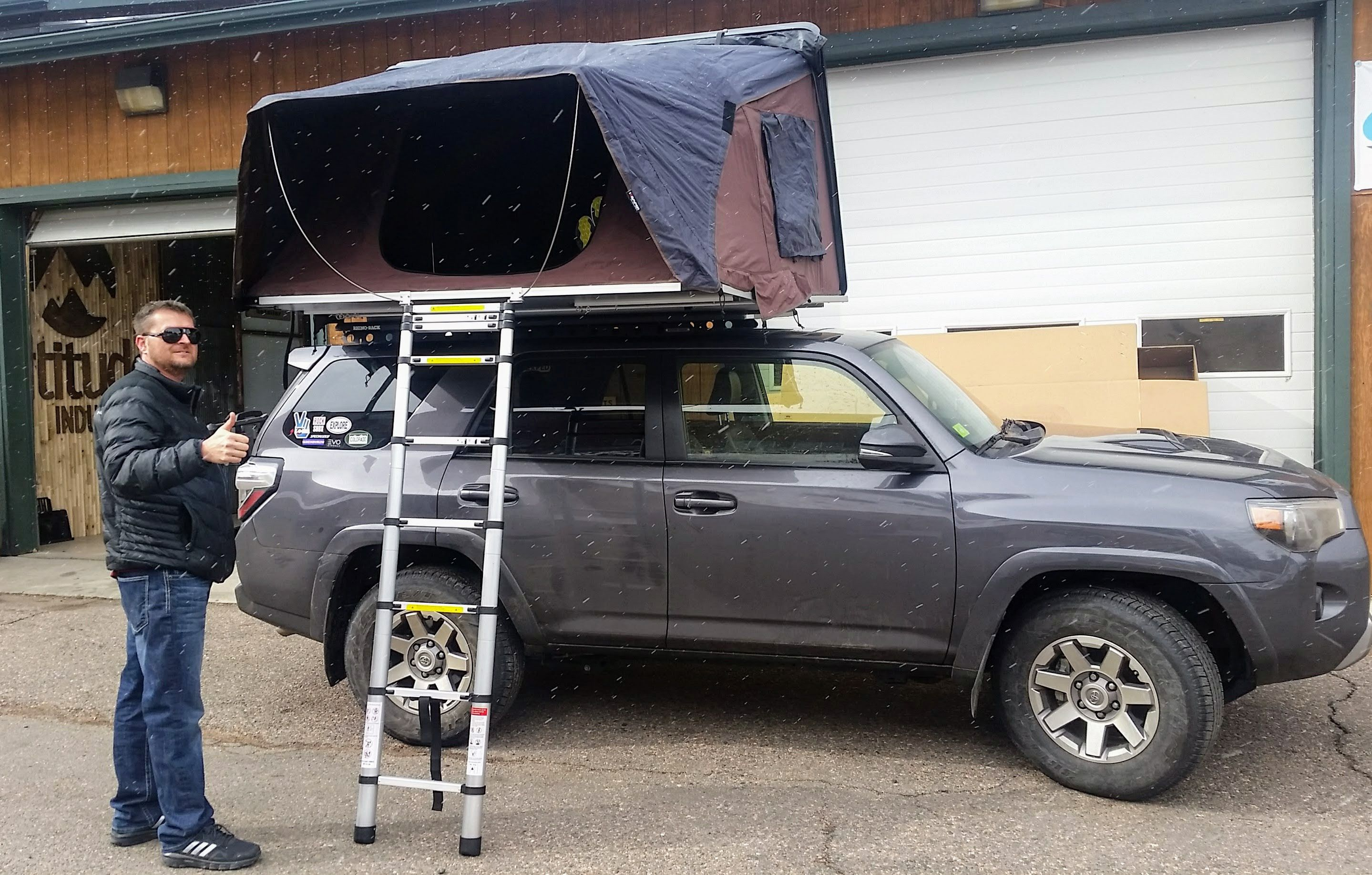 Toyota 4runner With Ikamper Skycamp Rooftop Tent Freshly Installed On A Rhino Rack Backbone With Pioneer Platform At Altitude Roof Top Tent Overland Gear Tent