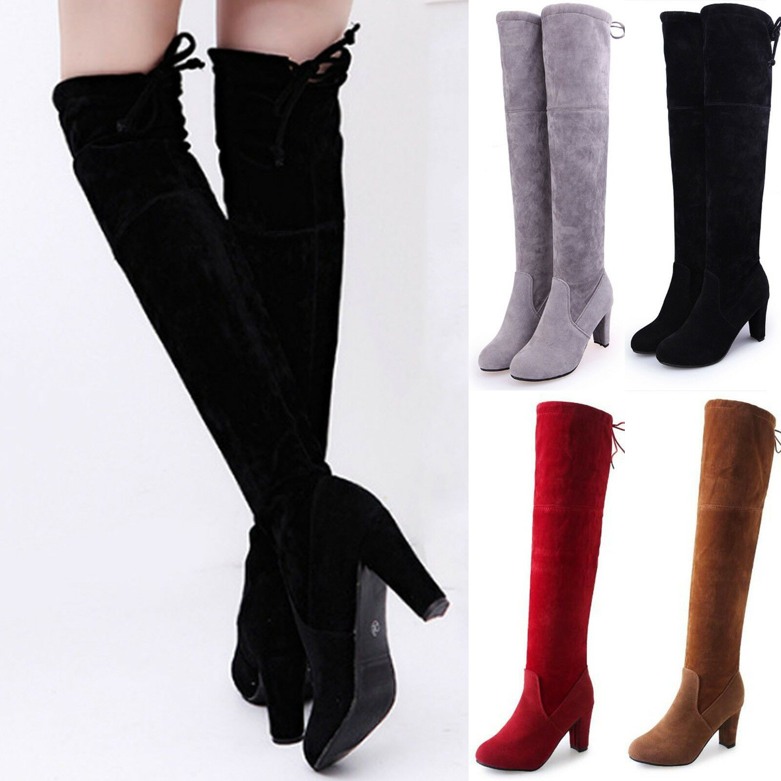 Ladies Thigh High Over The Knee Boots Womens Block Heels Long Riding Shoes Size