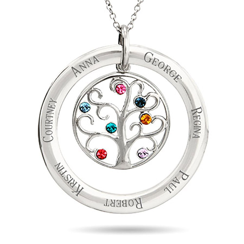 7 stone personalized birthstone family tree pendant family tree custom 7 birthstone engravable family tree necklace customize 7 stones in the tree plus aloadofball Gallery