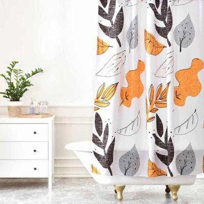 Deny Designs Mummysam Fall Leaves Shower Curtain Orange