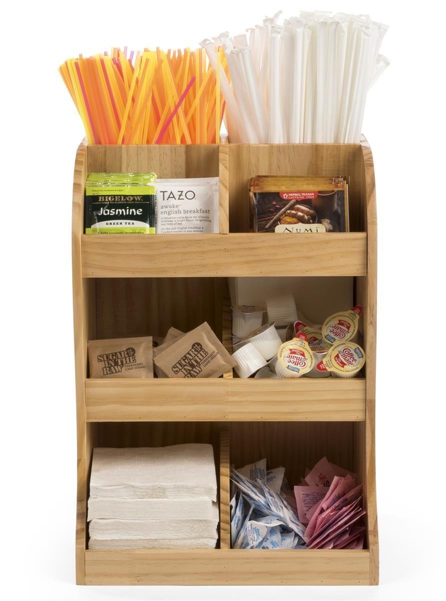 Condiment Organizer Rack Coffee Station Storage Office Break Room 14 Compartment