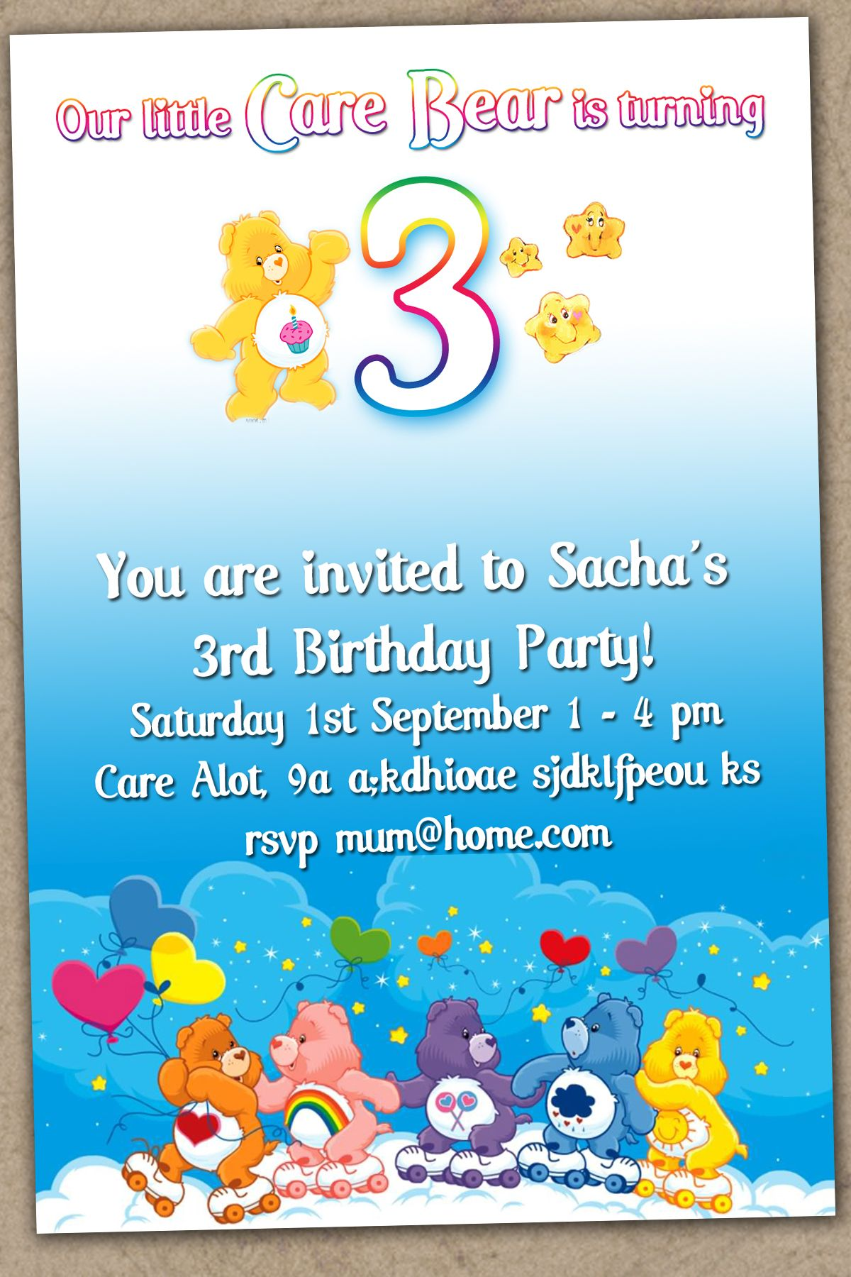Super Cute CARE BEARS 3rd Birthday Party Invitation – Care Bear Birthday Invitations