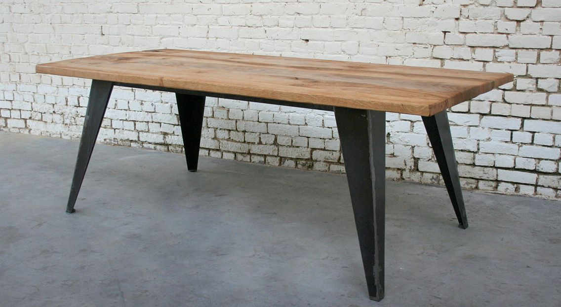 Table Bois Metal Vintage Desmet Giani Industriel 41jpg 1136623