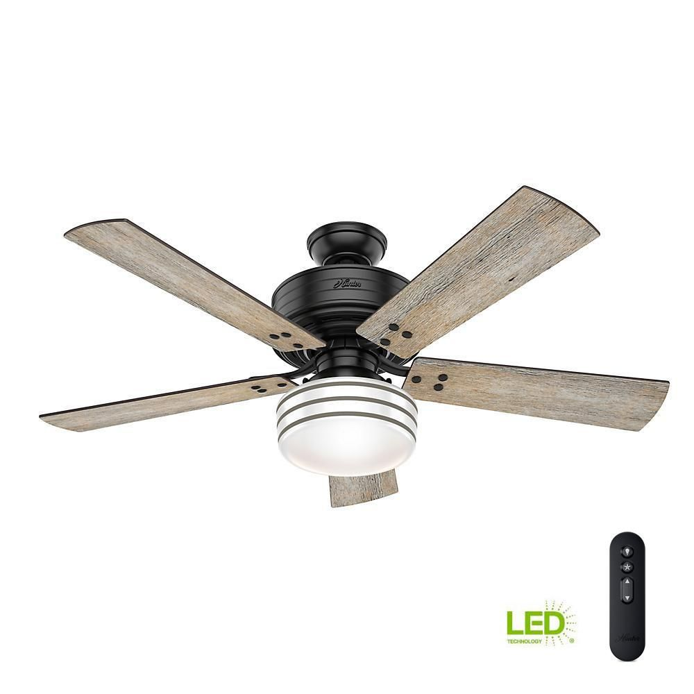 Hunter Cedar Key 52 In Indoor Outdoor Matte Black Ceiling Fan With Light Kit And Handheld Remote Control Black Ceiling Fan Ceiling Fan White Ceiling Fan